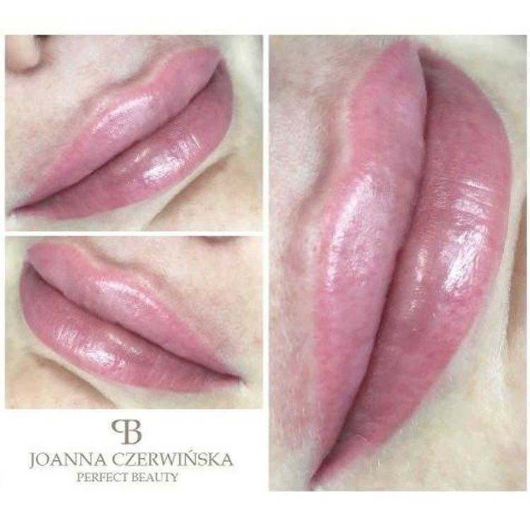 Makijaż permanentny ust. Uzupełnianie konturu ust i częściowe wypełnienie ombre.