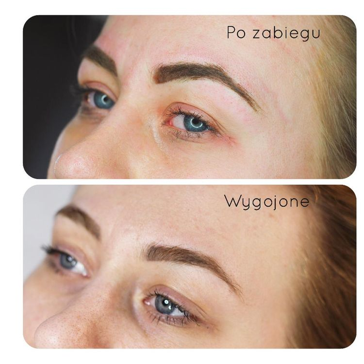 Makijaż permanentny bezpośrednio po wykonaniu pigmentacji i po wygojeniu.