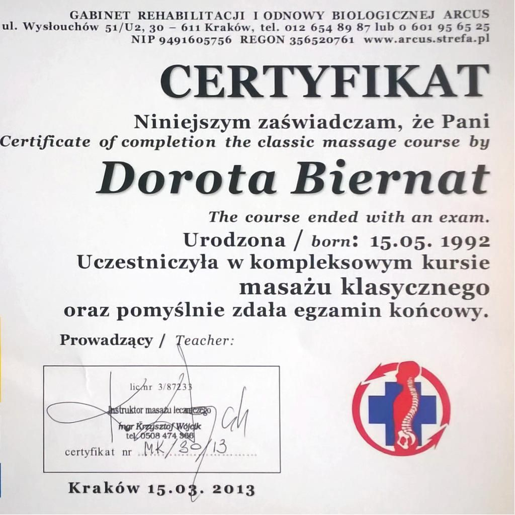 Masaż - DOR-MED Fizjoterapeuta Dorota Biernat