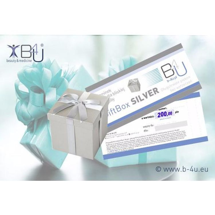 Bony upominkowe, prezentowe, vouchery na zabiegi i serie zabiegowe. Upominki, prezenty, gifty. GiftBox SILVER.
