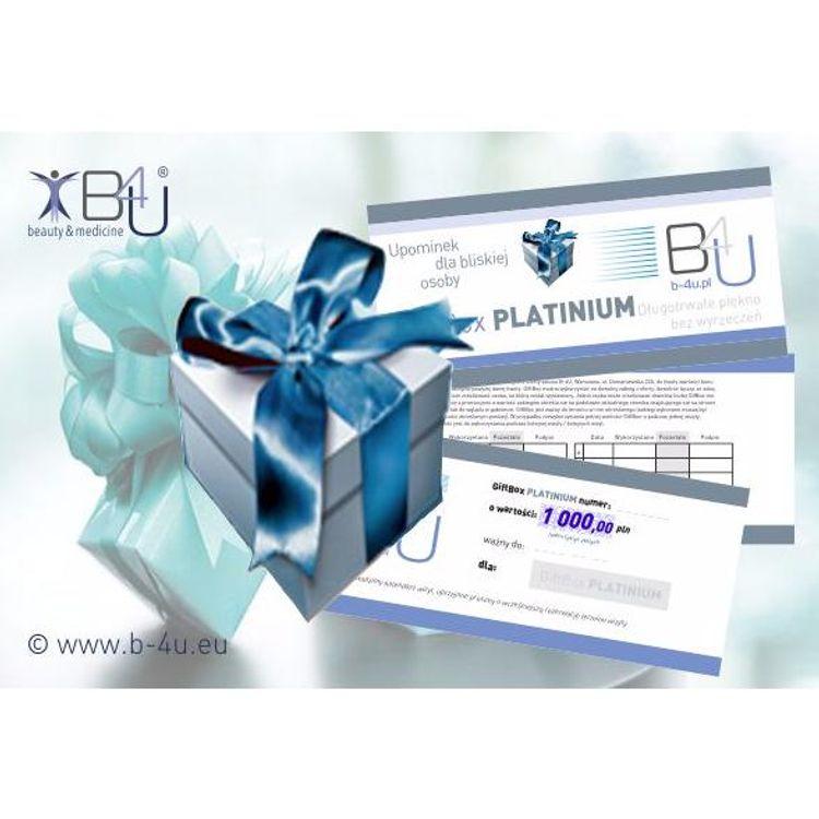Bony upominkowe, prezentowe, vouchery na zabiegi i serie zabiegowe. Upominki, prezenty, gifty. GiftBox PLATINIUM.